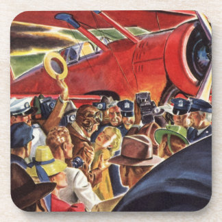 Vintage Pilot, Woman and Airplane with Paparazzi Drink Coaster