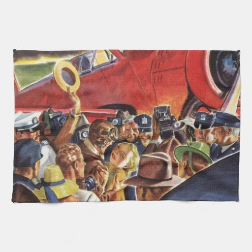 Vintage Pilot, Woman and Airplane with Paparazzi Hand Towel