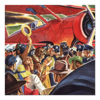 """Vintage Pilot, Woman and Airplane with Paparazzi 5.25"""" Square Invitation Card"""