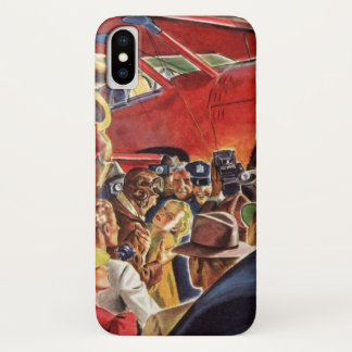 Vintage Pilot, Woman and Airplane with Paparazzi iPhone X Case