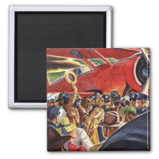 Vintage Pilot, Woman and Airplane with Paparazzi Magnet
