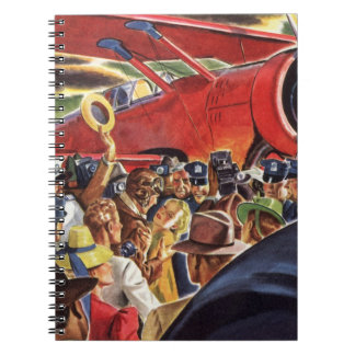 Vintage Pilot, Woman and Airplane with Paparazzi Spiral Note Books