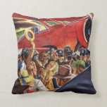 Vintage Pilot, Woman and Airplane with Paparazzi Throw Pillows