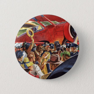 Vintage Pilot, Woman and Airplane with Paparazzi Pinback Button