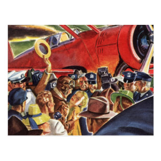 Vintage Pilot, Woman and Airplane with Paparazzi Postcard