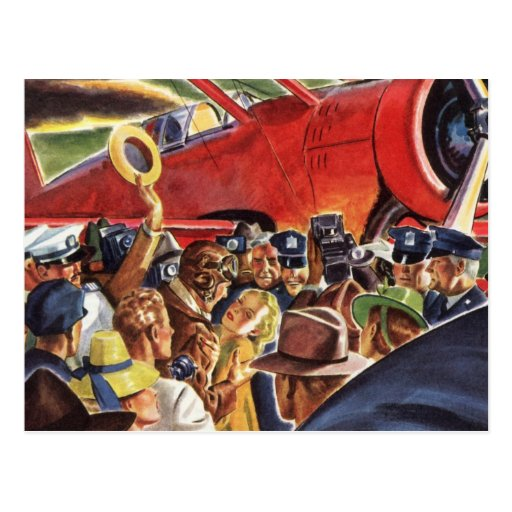 Vintage Pilot, Woman and Airplane with Paparazzi Postcards