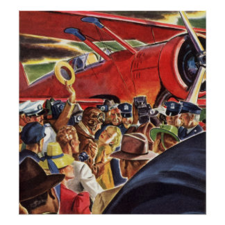 Vintage Pilot, Woman and Airplane with Paparazzi Poster