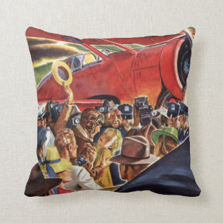 Vintage Pilot, Woman and Airplane with Paparazzi Throw Pillow