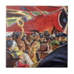Vintage Pilot, Woman and Airplane with Paparazzi Ceramic Tile