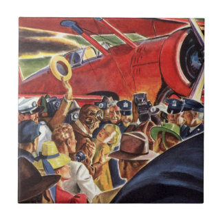 Vintage Pilot, Woman and Airplane with Paparazzi Tile