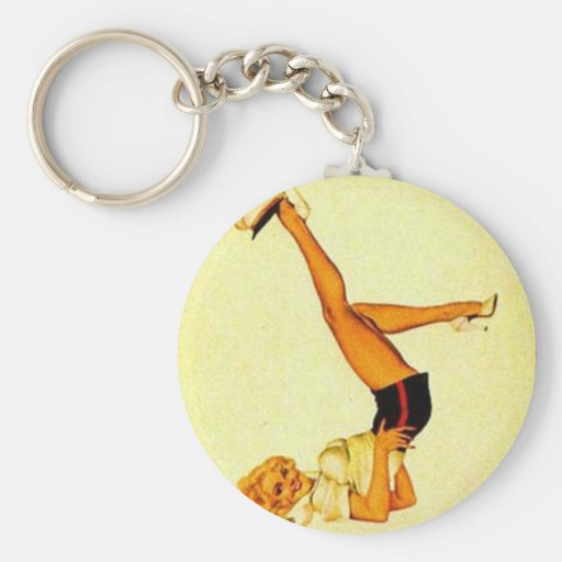 vintage pin up ace basic round button keychain