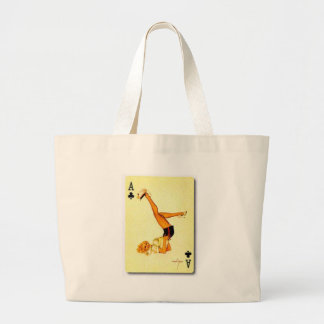 vintage pin up ace large tote bag