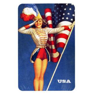 Vintage Pin-Up  Art . US Patriotic Gift Magnet Rectangle Magnet