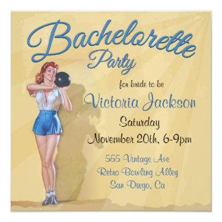 Vintage Pin up Bowling Bachelorette Party Card