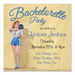 """Vintage Pin up Bowling Bachelorette Party 5.25"""" Square Invitation Card"""