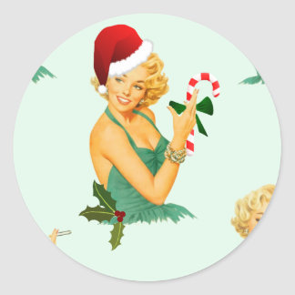 vintage pin up christmas classic round sticker