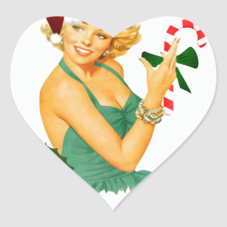vintage pin up christmas heart sticker