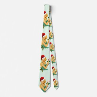 Vintage Ugly Christmas Sweater: vintage pin up christmas neck tie