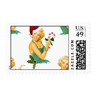 vintage pin up christmas postage stamp