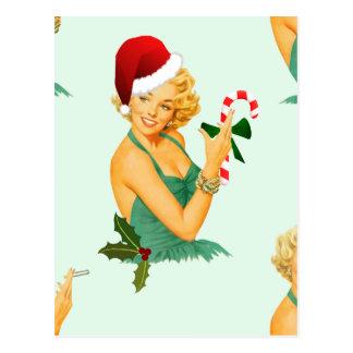 vintage pin up christmas postcard