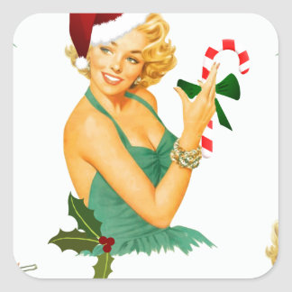 vintage pin up christmas square sticker