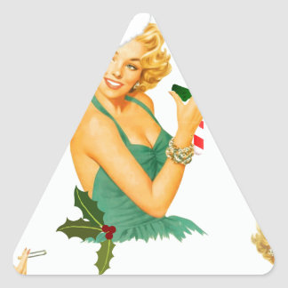 vintage pin up christmas triangle sticker