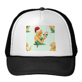 vintage pin up christmas trucker hat