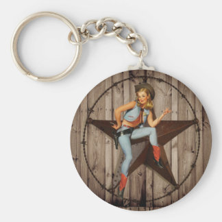 vintage pin up cowgirl country fashion basic round button keychain