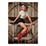 vintage pin up cowgirl country fashion card