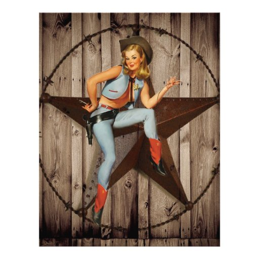 vintage pin up cowgirl country fashion letterhead template