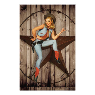 vintage pin up cowgirl country fashion stationery