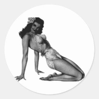 Vintage Pin Up Design! Classic Round Sticker