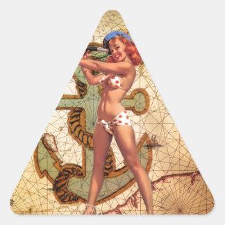 Vintage pin up girl beach triangle sticker