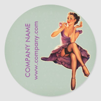 vintage pin up girl beauty salon makeup artist classic round sticker