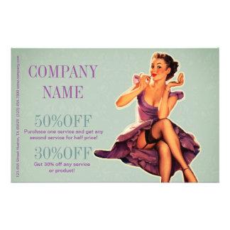 vintage pin up girl beauty salon makeup artist flyer
