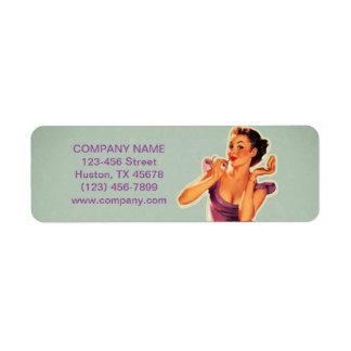 vintage pin up girl beauty salon makeup artist return address label
