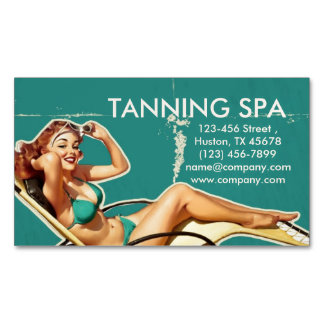 vintage pin up girl beauty SPA tanning salon Business Card Magnet