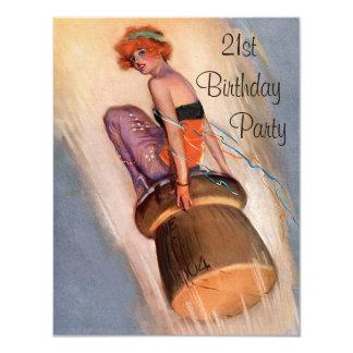 "Vintage Pin Up Girl & Champagne Cork 21st Birthday 4.25"" X 5.5"" Invitation Card"