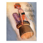 Vintage Pin Up Girl & Champagne Cork 40th Birthday 4.25x5.5 Paper Invitation Card