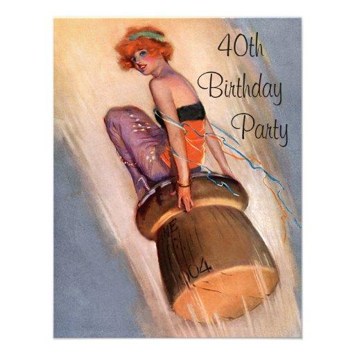 Vintage Pin Up Girl & Champagne Cork 40th Birthday Custom Invites
