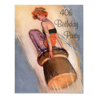 "Vintage Pin Up Girl & Champagne Cork 40th Birthday 4.25"" X 5.5"" Invitation Card"
