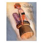 Vintage Pin Up Girl & Champagne Cork Birthday 4.25x5.5 Paper Invitation Card