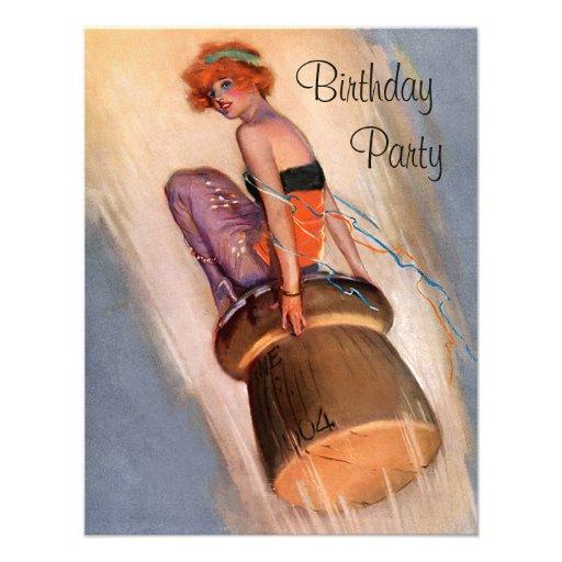 Vintage Pin Up Girl & Champagne Cork Birthday Custom Invitation