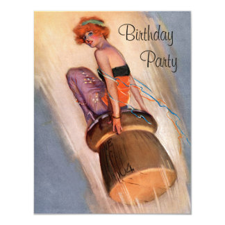 "Vintage Pin Up Girl & Champagne Cork Birthday 4.25"" X 5.5"" Invitation Card"