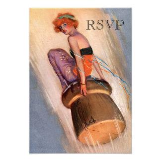 Vintage Pin Up Girl Champagne Cork RSVP Invites