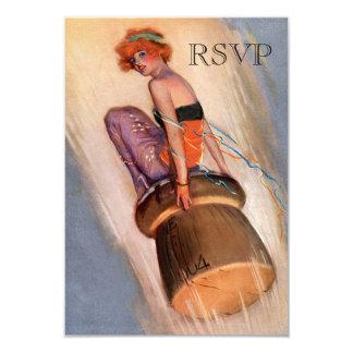 Vintage Pin Up Girl & Champagne Cork RSVP 3.5x5 Paper Invitation Card