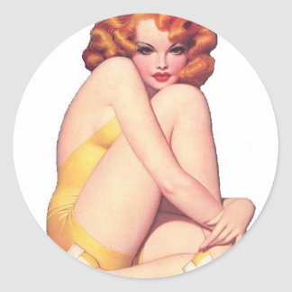Vintage Pin Up Girl Classic Round Sticker