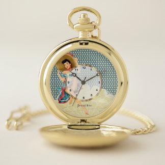Vintage Pin up Girl Design Pocket Watch