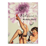 vintage pin up girl floral announcement
