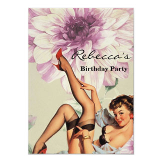 vintage pin up girl floral card